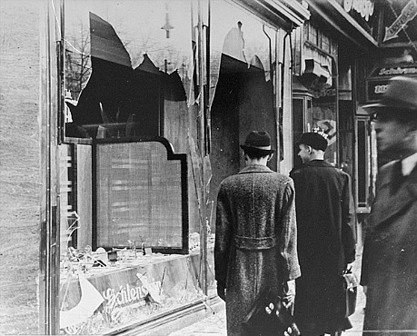 "Shattered storefront of a Jewish-owned shop destroyed during Kristallnacht (the ""Night of Broken Glass""). Berlin, Germany, November 10, 1938."