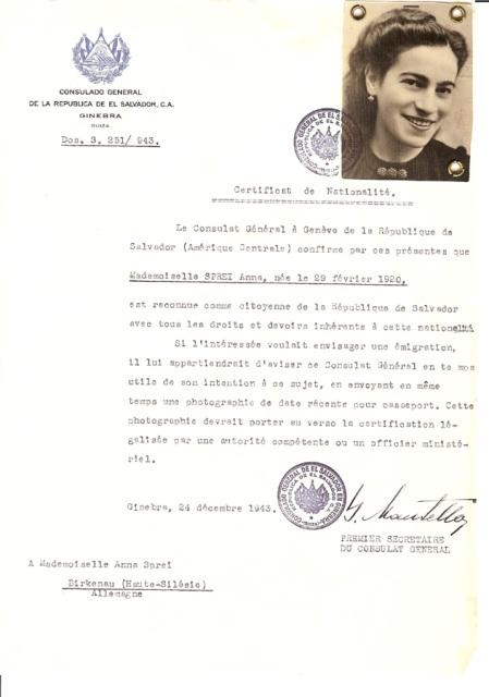 Muchos certificados se enviaron a judíos que ya habían sido recluidos en campos de concentración. Este certificado fue enviado a Anna Sprei en Birkenau en diciembre de 1943. Unos seis meses después, Mandel-Mantello lanzó una campaña de prensa que filtró el Protocolo de Auschwitz, un informe clandestino escrito por dos personas que habían escapado, cuyo testimonio denunciaba que más de 1.700.000 de judíos habían sido exterminados en Auschwitz-Birkenau.