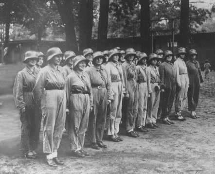 Women were included in preparations for national defense even before the war. Here, some German women form a unit of the civilian Air Defense League. Germany, November 15, 1936.