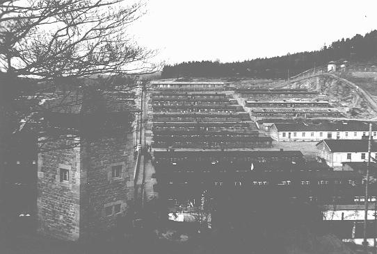 View of the Flossenbürg concentration camp after liberation of the camp by US forces. Flossenbürg, Germany, 1945.