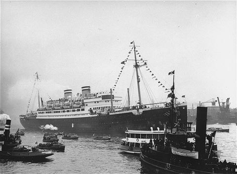 "The ""St. Louis,"" carrying more than 900 Jewish refugees, waits in the port of Hamburg. The Cuban government denied the passengers entry. Hamburg, Germany, 1939."