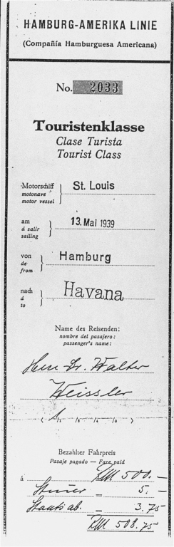 "Boarding pass for Dr. Walter Weissler for a voyage on the ""St. Louis"" from Hamburg to Havana. When Cuban authorities refused the passengers entry, Weissler returned to France, where he survived in hiding. He died in Paris in 1996. Hamburg, Germany. Date of pass, May 13, 1939."
