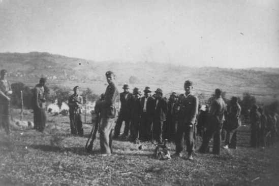 Ustasa (Croatian fascist) soldiers lead people to their execution in Herzegovina, in the pro-German fascist state of Croatia established following the partition of Yugoslavia. Croatia, between 1941 and 1944.