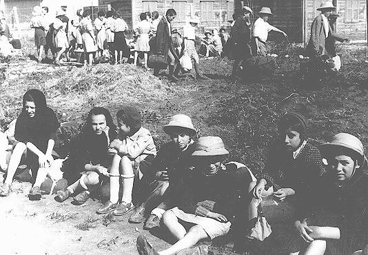 "Some of the Polish Jewish refugee children known as the ""Tehran Children."" Atlit, Palestine, February 1943."
