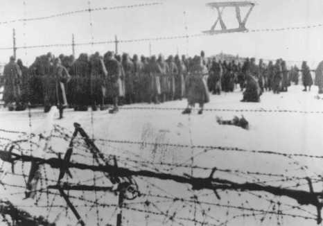 Photograph from a series taken by a guard in the Soviet POW camp of Belzen bei Bergen, and numbered in Roman numerals by the American officer, Lt. van Otten. The camp held approximately 10,000 POWs, most of whom came from Fallingbostel, 10 km away. When they fell ill, they were marched to Belsen. At Belsen, they were starved, often given only a soup made of field beets. This photo shows Soviet POWs assembled at the camp. Germany, between 1941 and 1945.