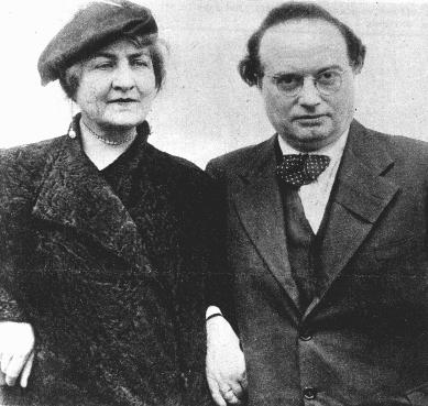 Franz Werfel, an Austrian writer, immigrated to the United States in 1938 because of growing antisemitism. Pictured here with his wife. Vienna, Austria, ca. 1930.