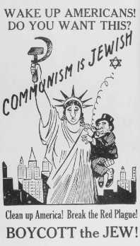 Antisemitic poster equating Jews with communism. United States, 1939.