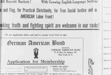 """Demandes d'inscription au Parti nommé le """"German-American Bund"""", un parti américain pro-nazi. Etats-Unis, 1939."""