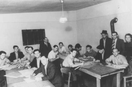 Drafting class sponsored by ORT (Organization for Rehabilitation through Training). Zeilsheim displaced persons camp. Germany, postwar.