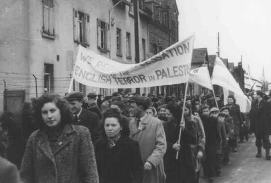 Jewish refugees protest British immigration policy in Palestine. Zeilsheim displaced persons camp, Germany, between 1945 and 1948.