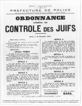 French government announcement concerning antisemitic legislation. Paris, France, December 10, 1941.
