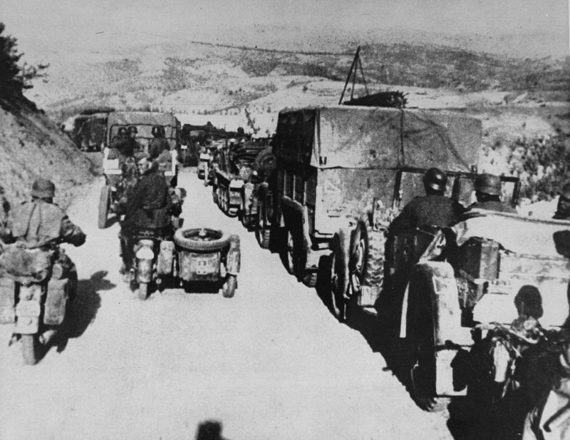 German troops during the invasion of Yugoslavia, which began on April 6, 1941.