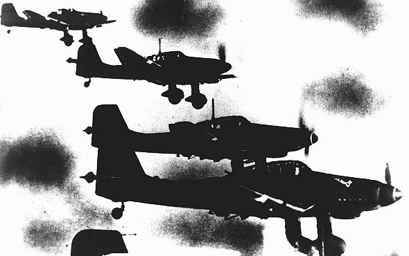 German Stuka dive-bombers fly over Yugoslavia during the German invasion of Yugoslavia, which began on April 6, 1941. Yugoslavia, ca. April 6, 1941.