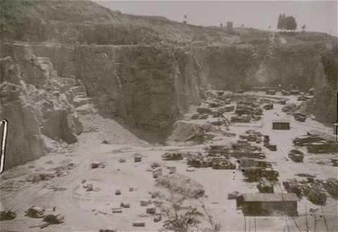 A view of the quarry at the Mauthausen concentration camp, where prisoners were subjected to forced labor. Austria, 1938-1945.