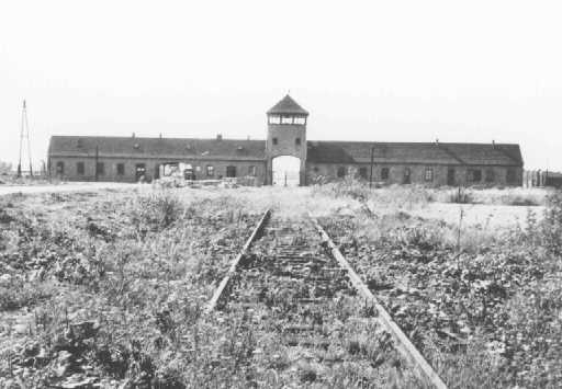 Main entrance to the Auschwitz-Birkenau killing center. Poland, date uncertain.
