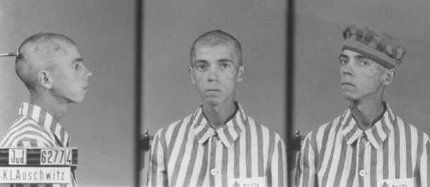 Identification pictures of a Jewish inmate of the Auschwitz camp. Poland, between 1940 and 1945.
