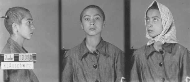 Identification pictures of a female inmate of the Auschwitz camp. Poland, between 1942 and 1945.