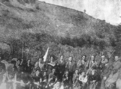 A group of Jewish partisans, members of a unit of the Armee Juive (Jewish Army). France, wartime.
