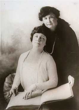 Portrait of Helen Keller and her teacher, Miss Macy. San Francisco, California, United States, between 1920 and 1930.