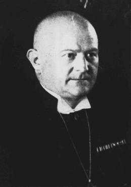 Ludwig Mueller, a Nazi sympathizer, was elected to the position of Reich Bishop in 1933 as Hitler attempted to unite regional Protestant churches under Nazi control. Berlin, Germany, November 17, 1933.
