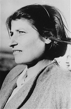 Zivia Lubetkin, a founder of the Jewish Fighting Organization (ZOB) and participant in the Warsaw ghetto uprising. Poland, date uncertain.