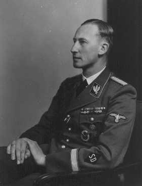 Reinhard Heydrich, chief of the SD (Security Service) and Nazi governor of Bohemia and Moravia. Place uncertain, 1942.
