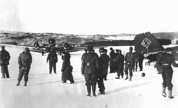 German troops and bombers on an improvised airfield during the battle for Norway, May 3, 1940.
