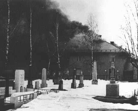 The Norwegian town of Elverum, near the Swedish border, burns after a German bombing mission. Elverum, Norway, May 3, 1940.