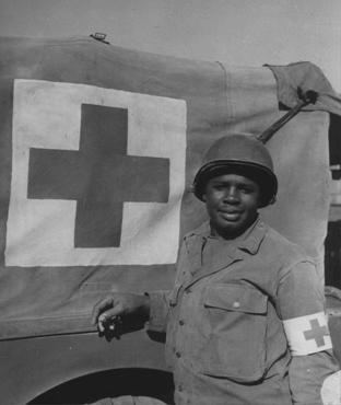 African American soldier Warren Capers was recommended for a Silver Star for his actions during the Allied invasion of France. He and his medical detachment aided more than 330 soldiers. France, August 18, 1944.