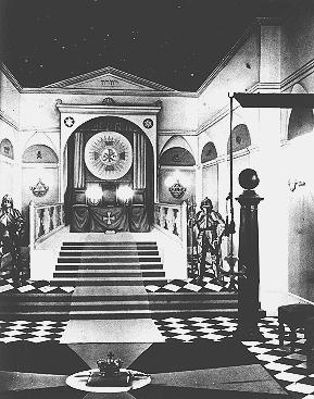 Display in an anti-Masonic exhibition held in a former Masonic lodge in Nuremberg. Germany, ca. 1938.