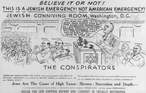 Propaganda antisemita. Estados Unidos, fecha incierta.