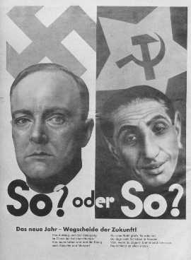 """Affiche de propagande nazie mettant en garde les Allemands sur les dangers que représentent les """"sous-hommes"""" d'Europe orientale. Allemagne, date incertaine."""