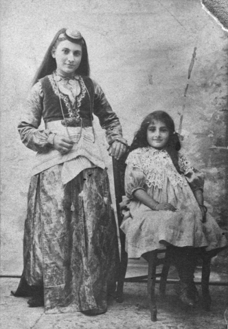 Studio portrait of two Armenian girls. Ottoman Empire, ca 1895. [Courtesy of Mabel Aharonian]