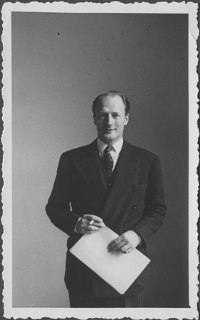 Portrait of Lieutenant Colonel Mervyn Griffith-Jones, British prosecutor at the IMT Nuremberg commission hearings investigating indicted Nazi organizations.