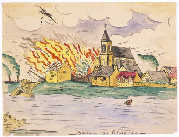 "Watercolor painting by Simon Jeruchim entitled ""Memory of June 6, 1944."" Having learned of the Allied invasion on a shortwave radio, the artist depicts the bombing and burning of a town that is situated on a river."