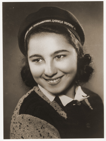 Portrait of Stella Nahmiyas in her school cap. Bitola, ca. 1940.