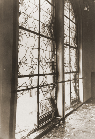The shattered stained glass windows of the Zerrennerstrasse synagogue after its destruction on Kristallnacht. Pforzheim, Germany, ca. November 10, 1938.