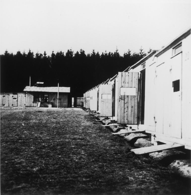 View of barracks in the Lety internment camp. Lety, Czechoslovakia, wartime.