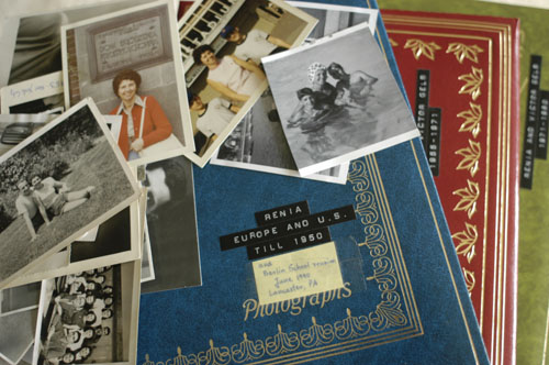 Stack of Regina Gelb's photographs and albums. 2004.