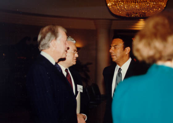 From left to right: former US President Jimmy Carter, Judge Thomas Buergenthal, former UN ambassador Andrew Young. Judge Buergenthal was the director of the human rights program for the Carter Center from 1986–1989.