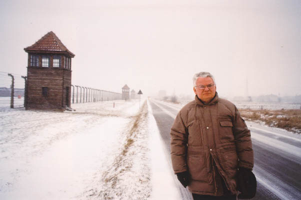 Thomas at Auschwitz in 1995, fifty years to the day after his forced march out of the camp as a child. Poland, 1995.