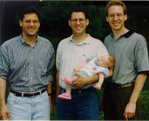 Thomas's three sons, Robert, John (holding daughter Eliza), and Alan. 1996.