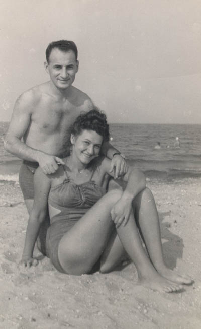 Lisa and Aron at Lake Michigan, ca. 1947-1949.