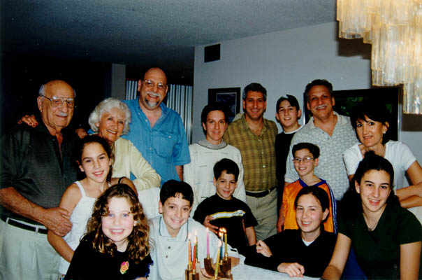 The extended Derman family.  Top row, left to right: Aron, Lisa, Howard, Miriam, Daniel, Ari, Gordon, and Barbara (Howie's wife). Front row, left to right: Rachel, Yali, Evan, Gabe, Courtney, Ben, and Lindsay.