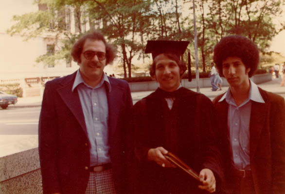 Aron and Lisa's three sons (Howard, Gordon, and Daniel) at the middle son's graduation from the University of Wisconsin. Madison, Wisconsin, ca. 1972.