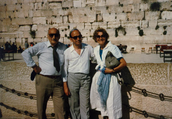 "Aron and Lisa with Tadek Soroka, the Pole who helped them escape, on the occasion of Soroka's recognition as a ""Righteous among the nations"" by Yad Vashem. Jerusalem, Israel, 1983."