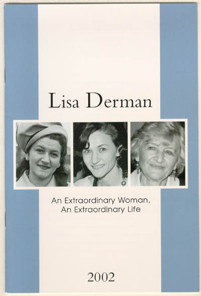Cover of a memorial booklet for Lisa (Lisa Derman: An Extraordinary Woman, An Extraordinary Life, published by Louis Weber Publications International, Ltd.).