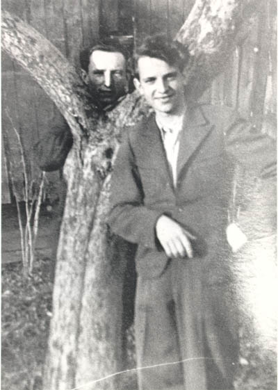 Tadek Soroka (right), a Pole who helped Aron and Lisa escape from Poland. This photograph was sent to the Dermans after the war. Date and place unknown.