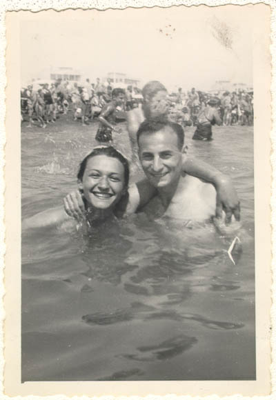 Lisa and Aron in Italy, before they were married. Ostia, Italy, 1945.