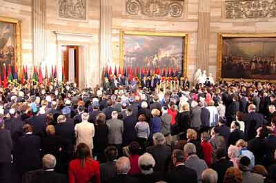 Scene during the 2001 Days of Remembrance ceremony, in the Rotunda of the US Capitol. Flags of the liberating divisions feature prominently in the Museum's Days of Remembrance ceremonies. Washington, DC, 2001.